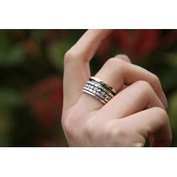 Bague Large Argent & Or & Zircons - LA PRINCESSE DOREE