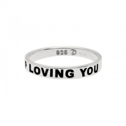 "Bague message Argent  & message ""I just can't stop loving you"""