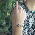 Bracelet élastique UNO DE 50 SCARABEE métal et bois