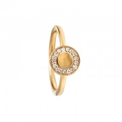 Bague fine Or jaune FUNKY RONDE - Corolle & Zircons blancs