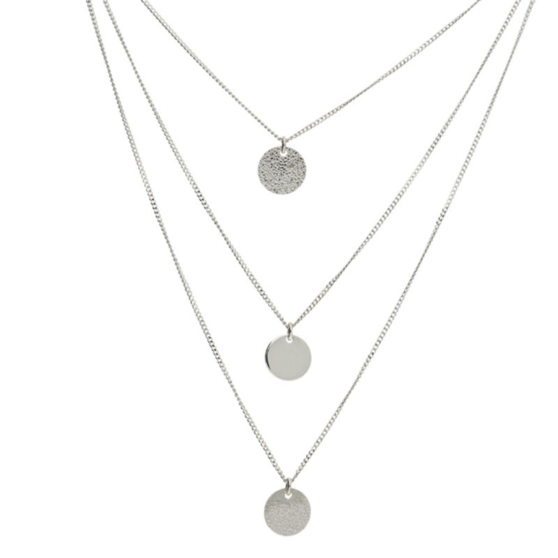 Collier multi rangs Argent - Rounds of love & médailles