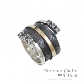 Bague THEMA - bague Large Argent & Or & Zircons - LA SUBLIME