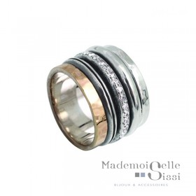 Bague THEMA - bague large Argent & Or & Zircons - LA DIVINE OR
