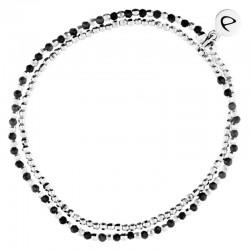 Bracelet multi tours élastiqué Heaven argent - Perles de verre & Hématites noires