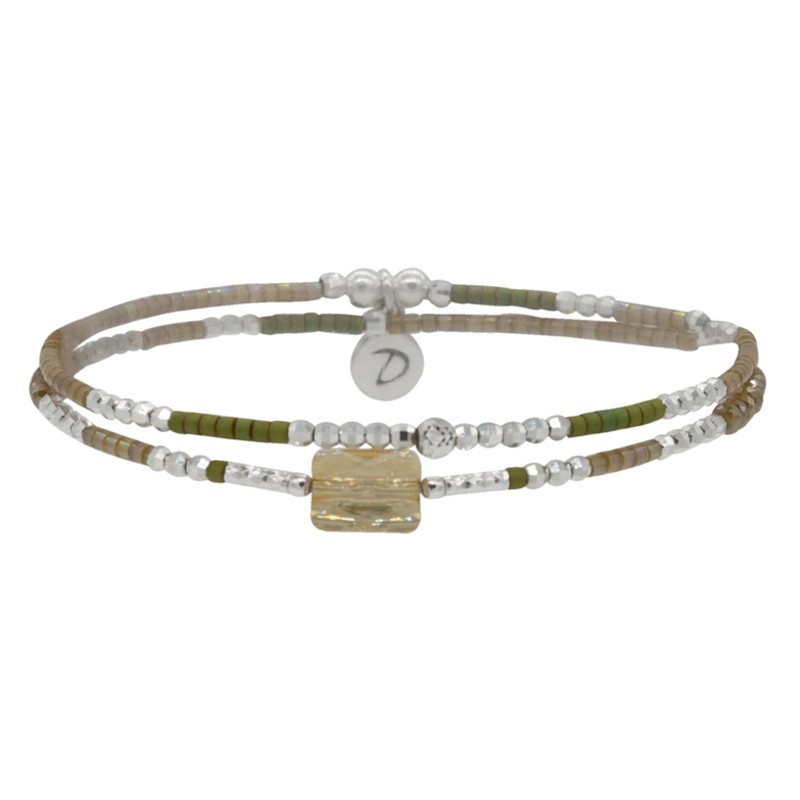 Bracelet multitours élastiqué Prince argent - Perles miyuki kakis & Swarovski beiges