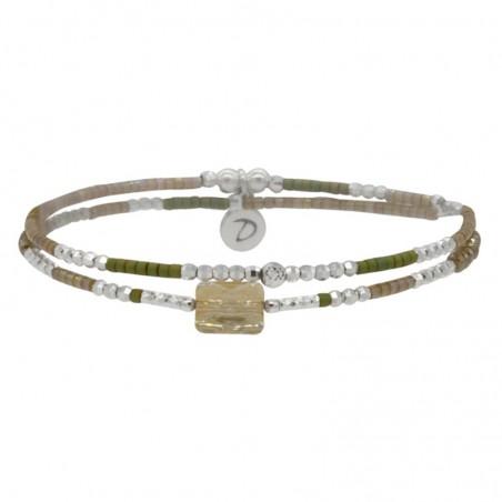 Bracelet 2 tours élastiqué Prince argent - Miyuki kakis & Swarovski beiges