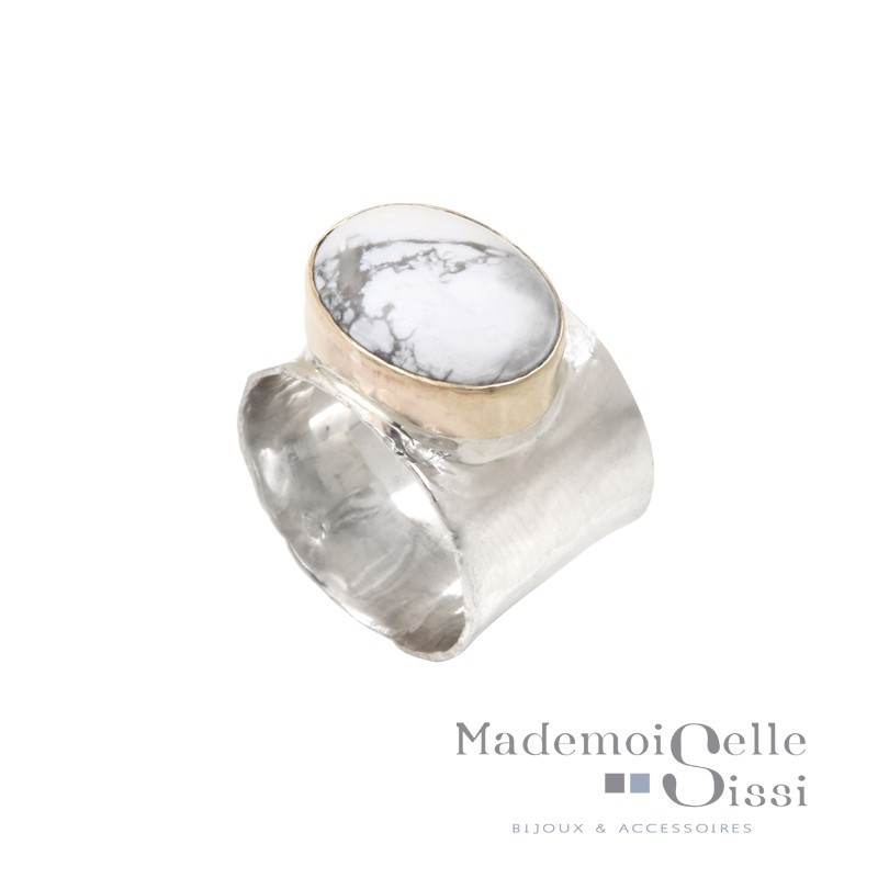 Bague THEMA - bague Large Argent & Or & Ovalite - LA MARBREE
