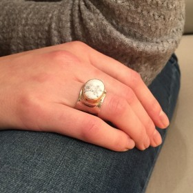 Bague Large Argent & Or & Ovalite - LA MARBREE