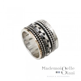 Bague Large Argent Or & Saphirs noirs - LA VENERABLE - THEMA