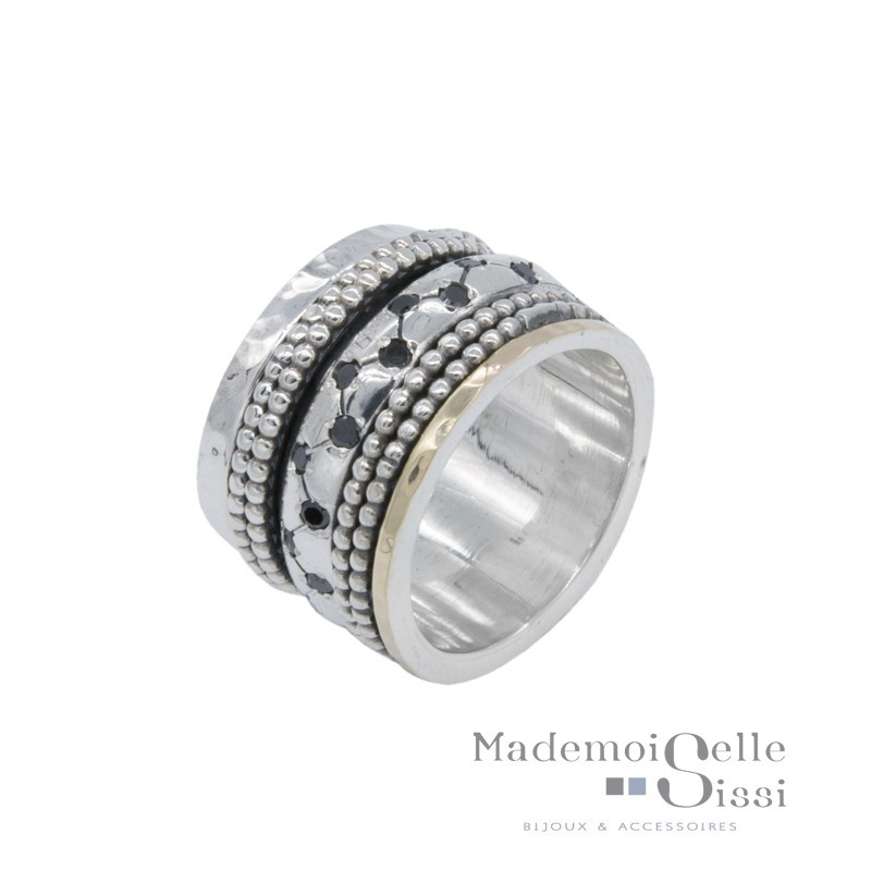 Bague THEMA - bague Large Argent Or & Saphirs noirs - LA VENERABLE