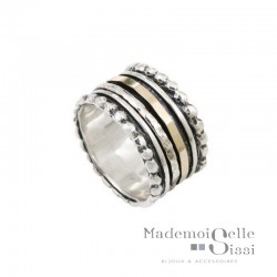 Bague THEMA - Bague Large Argent & Or - LA JOLIE DORE