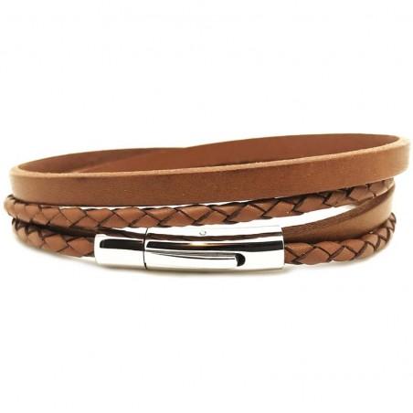 Bracelet jonc multi-tours Mixte - Métal & cuir lisse et tressé camel