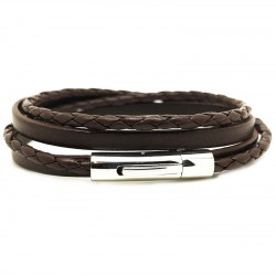 Bracelet jonc multi tours Mixte - Métal & cuir marron LOOP AND CO