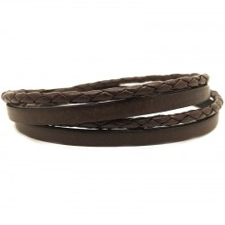 Bracelet jonc multi tours Mixte - Métal & cuir marron - Loop and Co