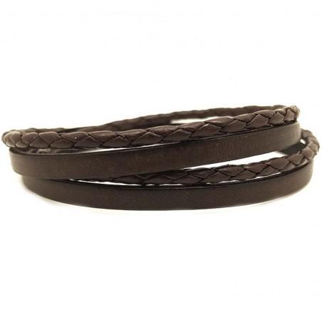 Bracelet jonc multi tours Mixte - Métal & cuir marron