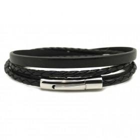 Bracelet jonc multi tours Mixte -Métal & cuir noir - Loop and Co