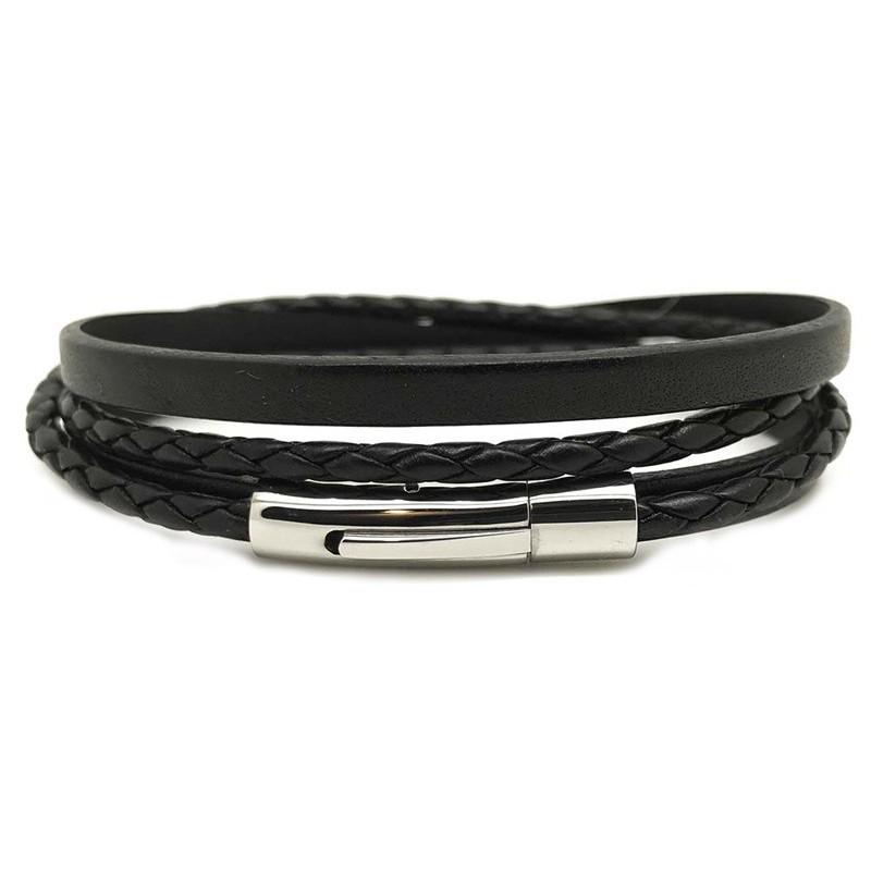 Bracelet jonc multi tours Mixte -Métal & cuir noir