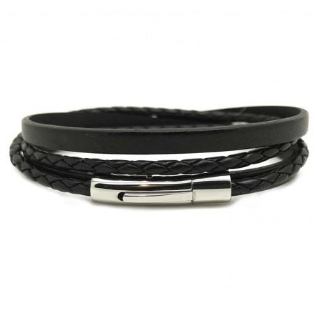 Bracelet jonc multi-tours Mixte - Métal & cuir noir