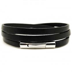 Bracelet multi tours mixte métal et cuir plat noir