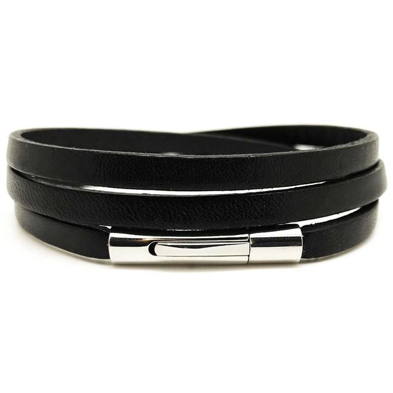 80cd2cd4a772 Bracelet multi tours mixte métal et cuir plat noir