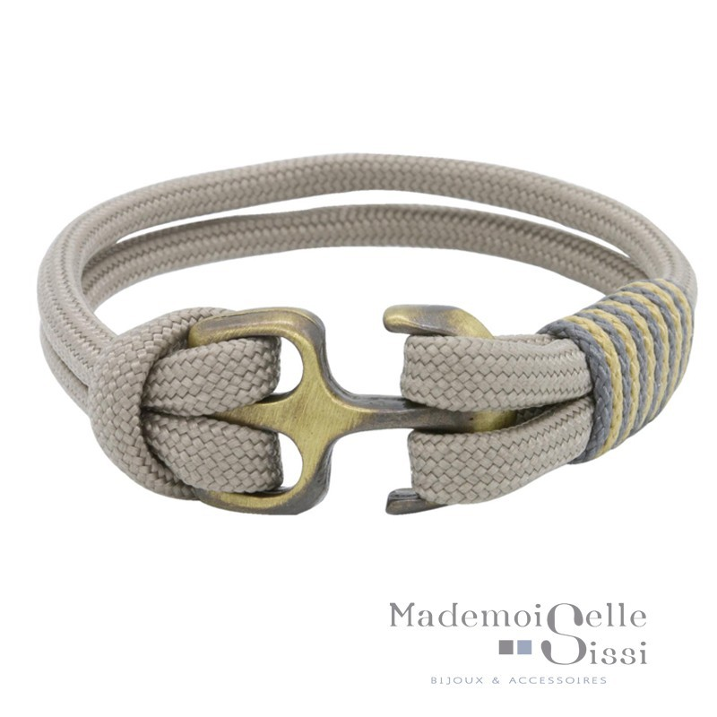 MARY AND THE CAPTAIN - Bracelet jonc Nautiques -Taupe & Ancre bronze