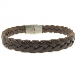 Bracelet jonc large homme Cuir Tressé Marron - Loop and Co