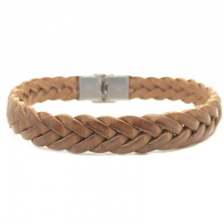 Bracelet Jonc large homme - Cuir Tressé Camel - Loop and Co