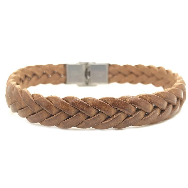 Bracelet Jonc large homme - Cuir Tressé Camel - Loop and Co