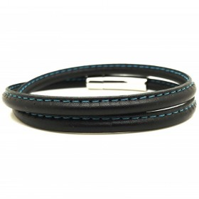 Bracelet jonc multi tours Mixte - Métal & cuir noir bleu ciel - Loop and Co