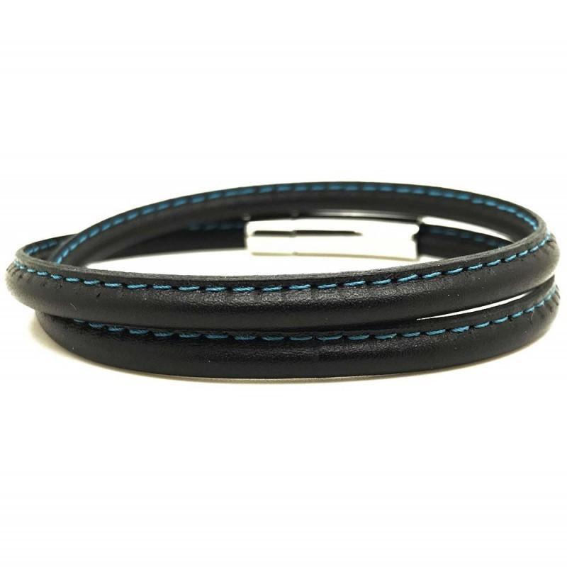 Bracelet jonc multi tours Mixte - Métal & cuir noir bleu ciel - Loop and Co