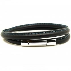 Bracelet jonc multi tours Mixte - Métal & cuir noir bleu ciel