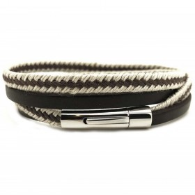 Bracelet jonc multi tours Clic Nautic - Corde & cuir Marron beige - Loop and Co