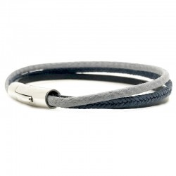 Bracelet jonc multirangs Mixte - Métal & cuir noir bleu gris - Loop and Co