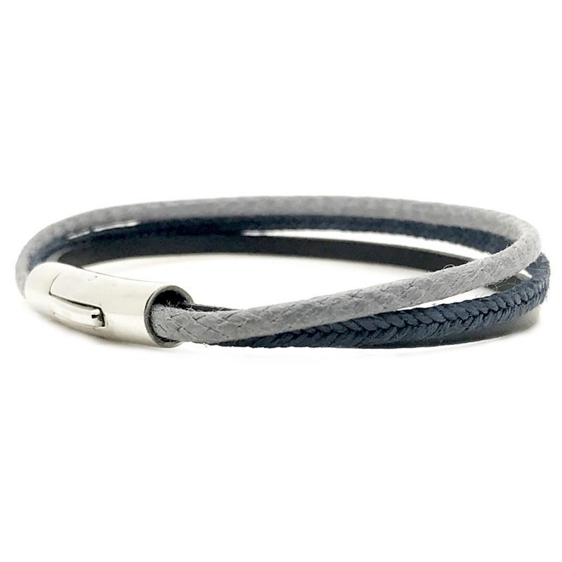b81ad24e03d6 Bracelet jonc multi-rangs Mixte - Métal   cuir noir bleu gris