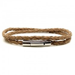 Bracelet jonc multi tours Mixte - Métal & cuir Camel - Loop and Co