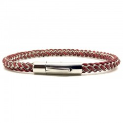 Bracelet jonc Mixte - Acier & cuir kangourou rouge - Loop and Co