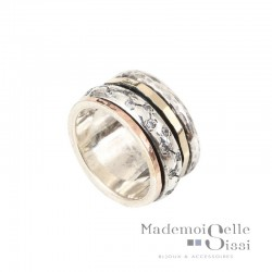 Bague THEMA - Bague large Argent Zircons & 2 Ors -  LA LUXUEUSE