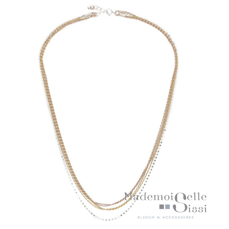 Collier court multi rangs Margaux - Chaînes Argent Or jaune Or rose