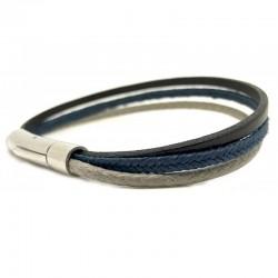 Bracelet jonc multi-rangs - Métal & liens marron bleu et gris LOOP AND CO
