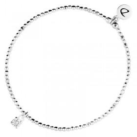 Bracelet fin élastique Alone - Perles argent & Pendentif Zircon carré