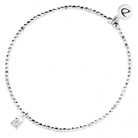 Bracelet fin élastique Alone argent - Zircon carré