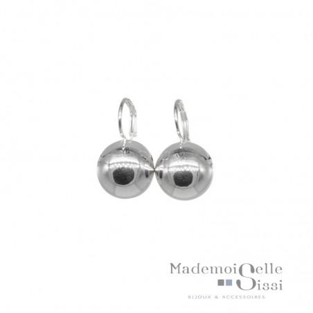 Boucles d'oreilles sur dormeuses boule argent 925 diamètre 10 mm