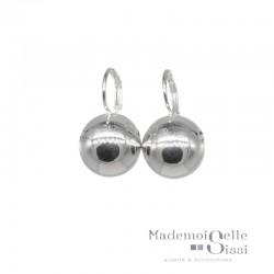 Boucles d'oreilles sur dormeuses Doriane - boule argent 925 diamètre 12 mm