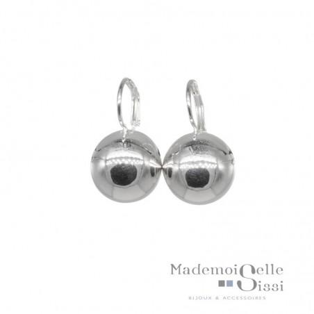 Boucles d'oreilles sur dormeuses boule argent 925 diamètre 12 mm