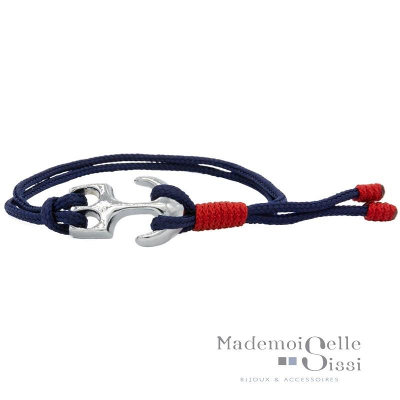 Bracelet Mini-Navy ajustable Cordes Nautiques - Bleu rouge & Ancre