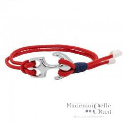 MARY AND THE CAPTAIN - Bracelet Mini-Navy ajustable Cordes Nautiques - Rouge bleu & Ancre