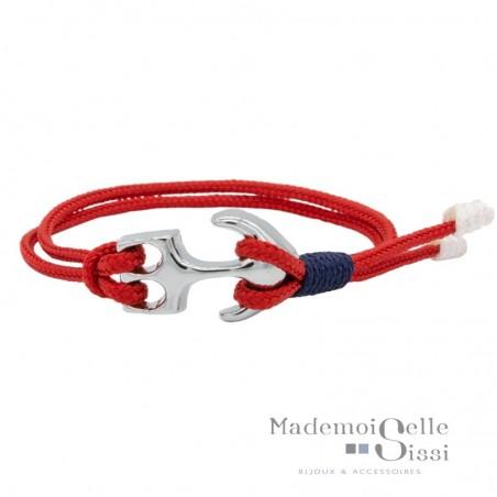 Bracelet Mini-Navy Cordes Nautiques & Ancre - Rouge & Bleu marine