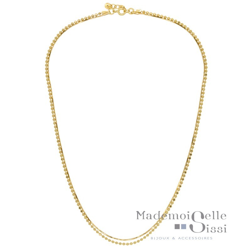 Collier court multi rangs Victoria - Chaînes Or jaune