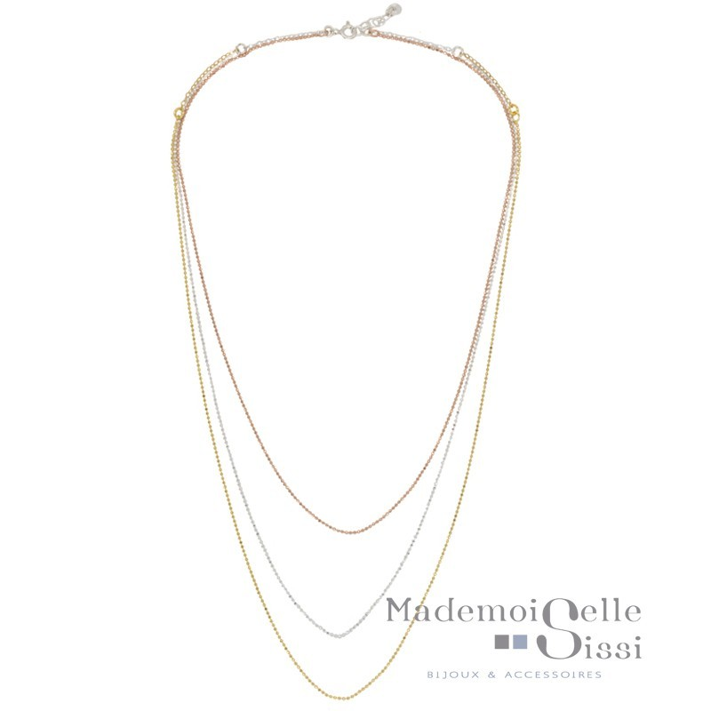 Collier multi rangs Vera - Chaînes Argent Or rose Or jaune