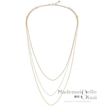 Collier multi-rangs Vera - Chaînes Argent Or rose Or jaune